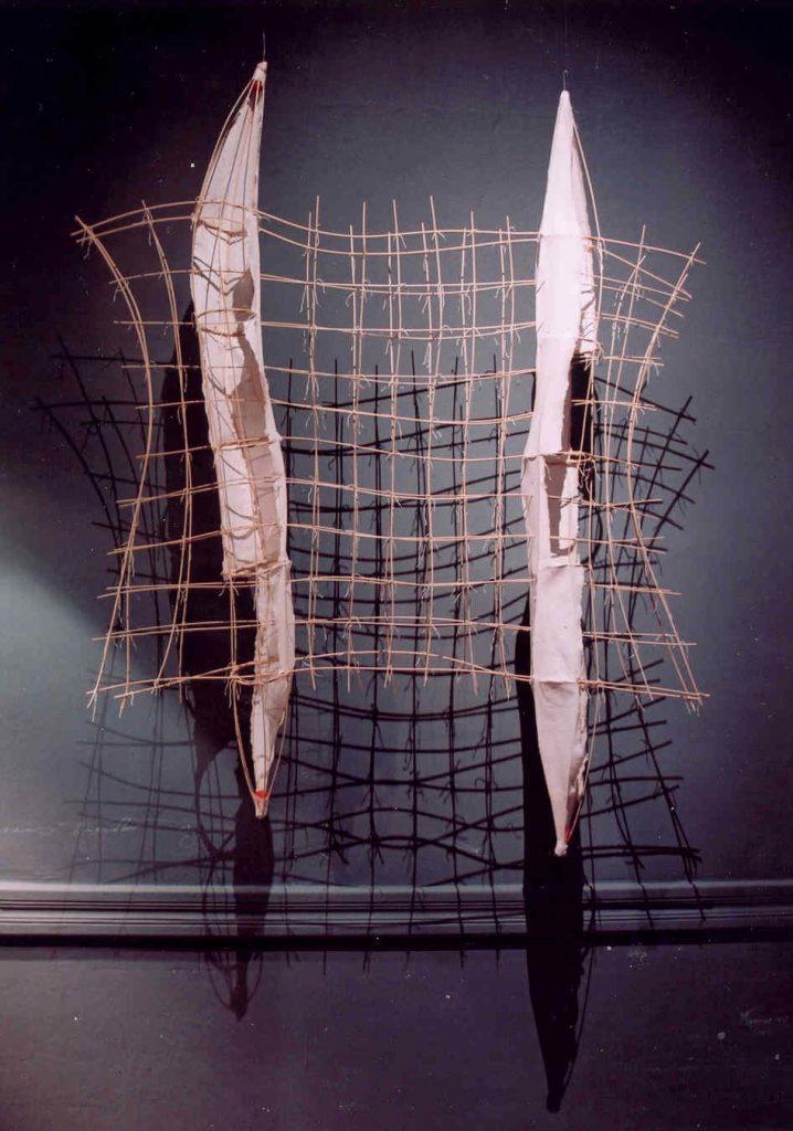 '' Raft '',   2003 <br>Handmade paper, rattan, thread <br>120 x 100 x 10 cm.