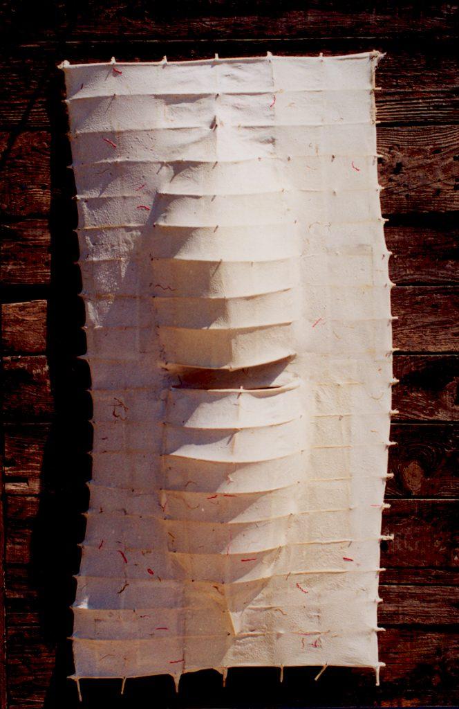 '' Nest '',   2000 <br>Handmade paper, rattan <br>100 x 50 x 14 cm.