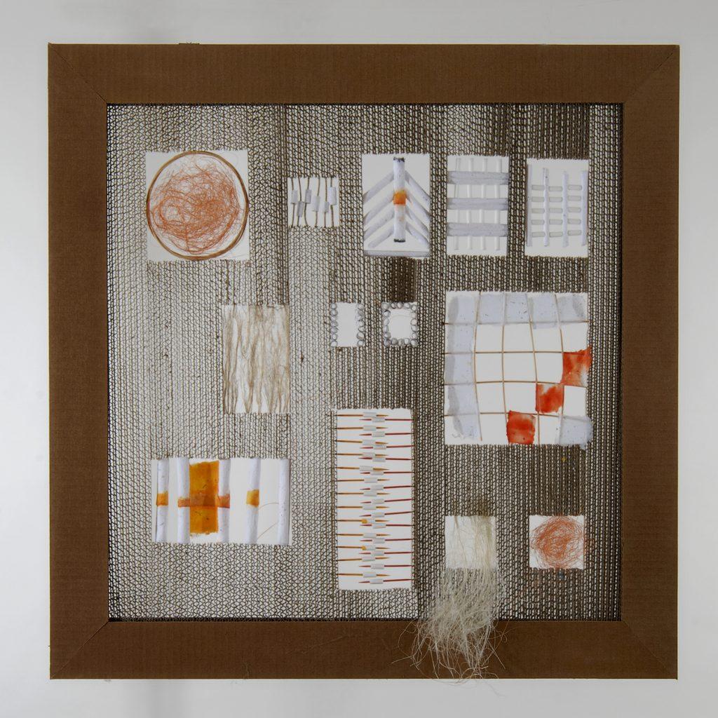'' Syllabograms '',   2007 <br>Handmade paper, corrugated paper, Linen, rattan, tooth sticks. <br>71 x 72 x 6 cm.
