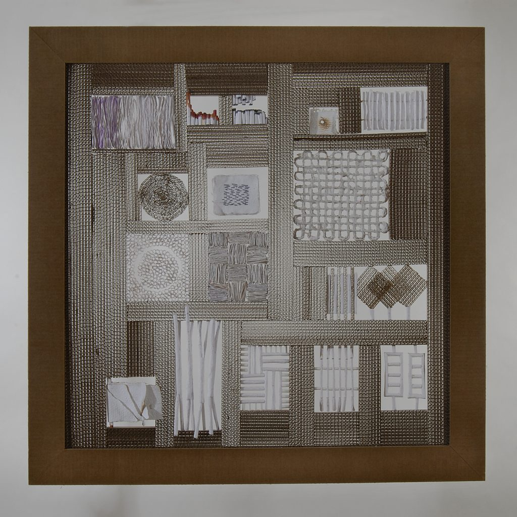 '' Ideograms '',   2007 <br>Handmade paper, corrugated paper <br>95,5 x 95,5 x 5 cm.
