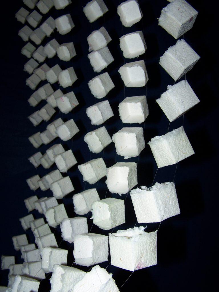 '' Cubic Air'',   2014 <br>Handmade paper, nylon thread <br>200 x 140 x 140 cm.