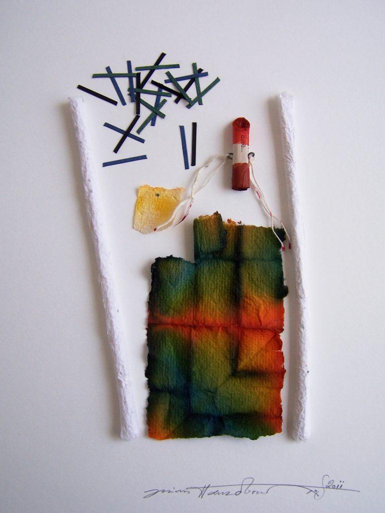 '' Rain ''   2012<br>Handmade paper<br>30 x 24 cm.