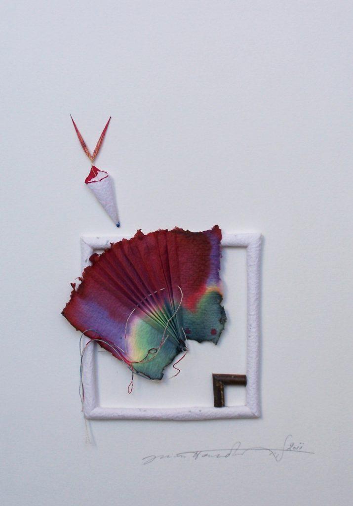 '' Fan '',   2012<br>Handmade paper<br>30 x 24 cm.