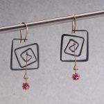 Earrings Les hauts et les bas, \'Le Rouge et le Noir\' Group Exhibition, 2014, iron, gold, rubies, approx. length 5,5cm